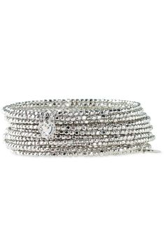 """Bardot Spiral Bangle- Silver Price:  $49.00  A metallic coil of silver plated brass nuggets.  Finished off with our tiny signature heart.  Approximately 2½"""" inner diameter.  Fits small to large wrists.  (To put on, wrap around wrist.)  Also available in gold."""