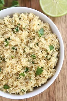 Cilantro Lime Quinoa: cook in veggie broth, add garlic, lime, cilantro, and a dash of sugar!!! ps! Garlic is super too, when it's raw like this recipe gives ;D