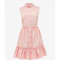 Sleeveless collared cotton-blend dress (€160) ❤ liked on Polyvore featuring dresses, collared dresses, pink frilly dress, pink ruffle dress, sleeveless dress and pink pleated dress