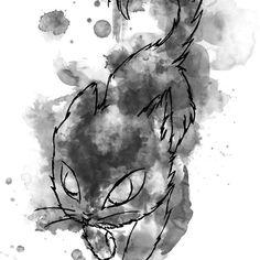 'Black cat, feline insolence' by Minouchtik Framed Prints, Canvas Prints, Art Prints, Long Hoodie, Wall Tapestry, Art Boards, My Design, Wall Art, Cats