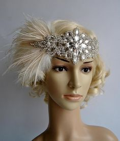 Glamour Rhinestone flapper Gatsby Headband by BlueSkyHorizons Flapper Headpiece, Fringe Flapper Dress, Flapper Headband, Wedding Headband, Crystal Headband, Rhinestone Headband, Great Gatsby Accessories, Hair Accessories, Vintage Glamour