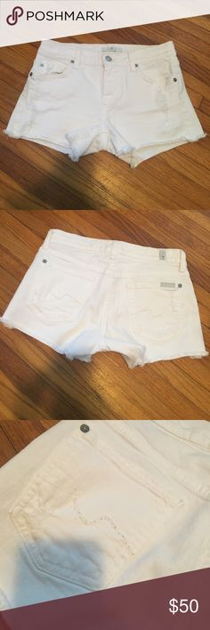 7 For All Mankind Denim Shorts 7 For All Mankind White Denim Shorts. In good but used condition. So cute and comfortable for the summer! 7 For All Mankind Shorts