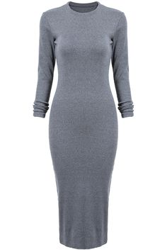 Shop Grey Long Sleeve Skinny Split Dress online. SheIn offers Grey Long Sleeve Skinny Split Dress & more to fit your fashionable needs.