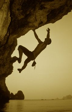 """AGAPE: Monica, this is what """"bouldering"""" looks like. If we could find an overhang that is low and close to the water, we could get something stunning."""