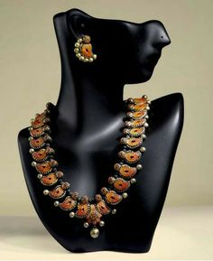 Elegantly Designed Terracotta Necklace and Ear Rings Set