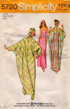 Simplicity 5720 1970s Misses Dolman Sleeve Caftan Slip Turban Pattern Womens Vintage Sewing Pattern Size Large 16 18 Bust 38 40 UNCUT