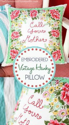 Creatively display a vintage hanky by turning it into an embroidered throw pillow! Click through for full instructions!