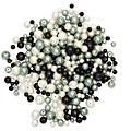 Glaswachsperlen, schwarz-grau-weiss