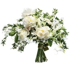 "Downton Abbey-inspired ""Duchess"" bouquet of peonies, garden roses, spirea, and ferns."