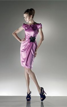 Lilac Sheath Knee-length Off The Shoulder Dress [Dresses 9955] - $189.00 :