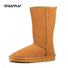45eba865be96 Only US  30.40 Women s Winter Boots Flats Genuine Leather Autumn Winter  Snow Shoes High Wool Fur