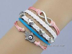 Braceletleather braceletFatima Hand braceletinfinity by goodlucky, $9.99