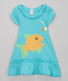 http://www.zulily.com/invite/kripley070 Love this Teal Fish Ruffle A-Line Dress - Infant, Toddler & Girls on #zulily! #zulilyfinds