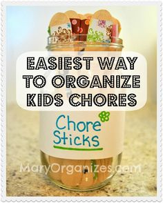 Chore Sticks - I made up these on colourful paddle-pop sticks and wrote chores on them. I also snuck in a few Give Mum a cuddle as well as some blank ones for an element of surprise.
