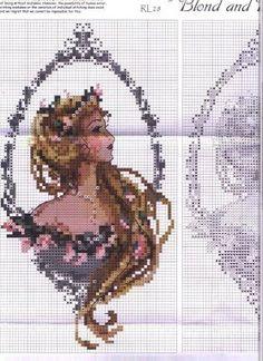 Cross-stitch Blonde & Brunette Lovely Cameos, part 3...  color chart on part 1...   Solo Patrones Punto Cruz