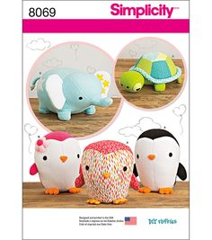 Simplicity Stuffed Penguins, Turtle And Elephant-One Size