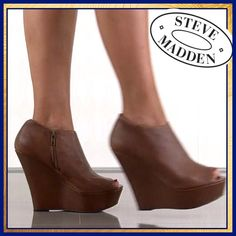 Cognac Peep-toe Booties Cognac Peep-toe Booties- mint condition , worn only once- indoors and on patio. Beautiful rich color for Fall. Steve Madden Shoes