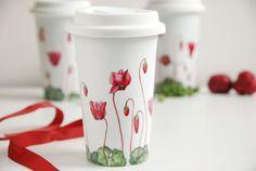 Ceramic EcoFriendly Travel  Mug  Cyclamen Botanical by yevgenia, $45.00