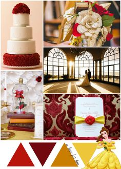 Red, Gold and Yellow Beauty and the Beast Inspired Wedding Theme - Wedding Colors - Wedding Blog - Disney Wedding - A Hue For Two | www.ahuefortwo.com