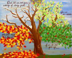 Four Seasons Tree Acrylic Painting Scripture by TheCreatorsCanvas, $85.00