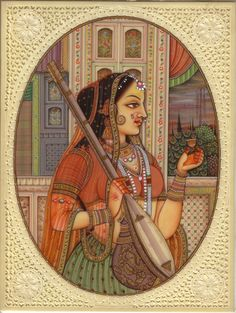 Indian Rajasthani Portrait Miniature