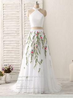 White two pieces lace applique long prom dress, evening dress