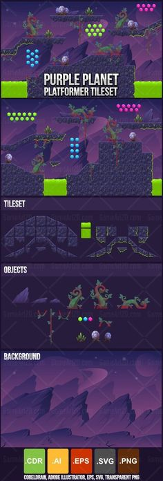 Purple Planet tileset for sci-fi space action and adventure video games #2d #game #assets #sprite #sheet #tile #tileset