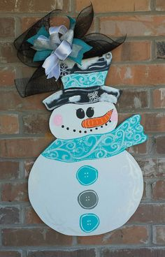 Muñeco de nieve colgador de puerta de por KatelynnAlaineDesign