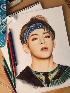 Ohh And the sketch is pretty nice too. Bts Manga, Bts Anime, Fanart Bts, Taehyung Fanart, Kpop Drawings, Art Drawings Sketches, Amazing Drawings, Realistic Drawings, Fan Art
