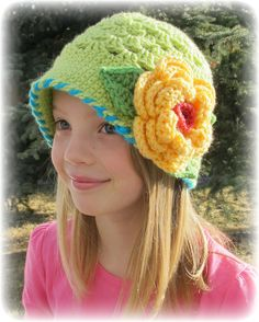 CROCHET PATTERN - In Full Bloom - a cloche hat with flower in 8 sizes (Infant - Adult L). $5.50, via Etsy.