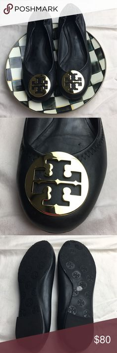 TORY BURCH Black leather ballet flats. Size 8.5 Tory Burch ballet flats.  Rounded toe and elastic back.  I've worn probably 3-5 times. Sticker is still on bottom.  I've recently had foot surgery and many of my shoes won't be fitting for awhile.  As much as I hate to pass along... some one needs to grab these. Tory Burch Shoes Flats & Loafers