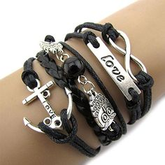 ON SALE! Exquisite Infinity Owl Love Anchor Friendship Leather Charm Bracelet Silver Cute Click the Link Now! Bracelet Love, Owl Bracelet, Leather Charm Bracelets, Bracelet Cuir, Black Bracelets, Metal Bracelets, Heart Bracelet, Jewelry Bracelets, Nautical Bracelet