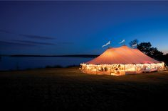 The translucent fabric of the sailcloth tent adds a beautiful glow to the interior space. Source: Sperry Tents #weddingtents #reception