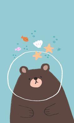 Cute illustration of a bear in ocean water. Bear Wallpaper, Kawaii Wallpaper, Pastel Wallpaper, Cute Wallpaper Backgrounds, Wallpaper Iphone Cute, Disney Wallpaper, Wallpaper Dekstop, Homescreen Wallpaper, Kawaii Drawings