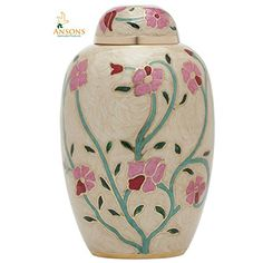 Cremation Urn  Flower Funeral Urn for Human Ashes  Burial urn with lacquer finish  100 Brass  Flora Cream *** Want additional info? Click on the image.
