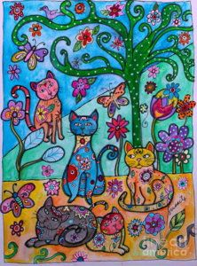 Kitty Art 2 - Whimsical Cats by Pristine Cartera Turkus