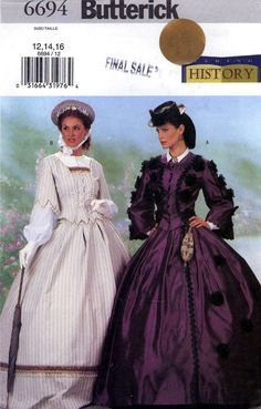 historical dresses | Butterick 6694 Historical costume pattern or civil war style dresses