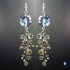 ♥ Long & Elegant Hyaline Blue Floral Spike Plated Silver Earrings