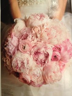 Monochromatic pink bouquet with peonies