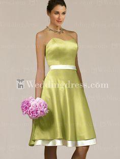 Knee Length Satin Sweetheart Wedding Party dress BR021
