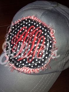 """Monogrammed ball cap by JilliBs on Etsy...I may """"need"""" one of these!"""