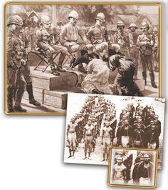 Above: King Prempeh, leader of the African Ashanti tribe, and the Queen Mother, submitting to British troops.  Left: The treatment meted out to native Australians.
