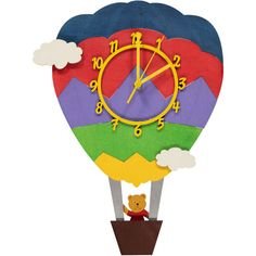 Hand crafted wooden hot air balloon clock being flown by a teddy bear with a swinging basket pendulum.   (H)38cm x (W)27cm   This clock can be personalised with up to 8 multicoloured wooden letters which would be placed at the top of the balloon