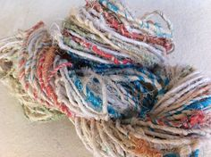 Recycled cotton yarn. Handspun art yarn, 100g, Bengal cream, fair trade art yarn, for knitting, crochet, jewelry making and more.
