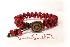 Beaded Braided Leather Bracelet, Fire Polished Red Picasso, Stacking Bracelet, 7 inches, Beach Boho, FREE SHIPPING! by SunsetSouthPaw on Etsy