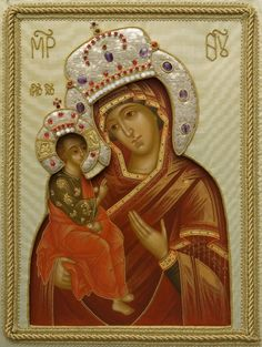Hand Painted icon of the Mother of God of Jerusalem in an oklad - St Elisabeth…