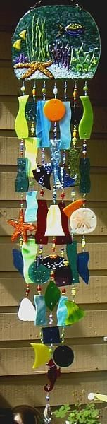 Under the Sea Fused Glass Wind Chimes by Andrea Mattison Mosaic Glass, Fused Glass, Stained Glass, Glass Art, Blowin' In The Wind, Glass Wind Chimes, Mobiles, My Pool, Glass Design