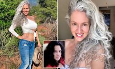 Sara Sophia Eisenman featured in the Daily Mail celebrating silver hair and ageless beauty Black Hair Dye, Long Gray Hair, Curly Gray Hair, Long Silver Hair, Lilac Hair, Emo Hair, Green Hair, Blue Hair, Black Ponytail Hairstyles