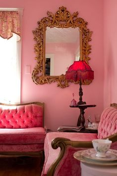 Victorian living room  #pink #velvet #tufted #sofa #loveseat #couch #ornate #mirror