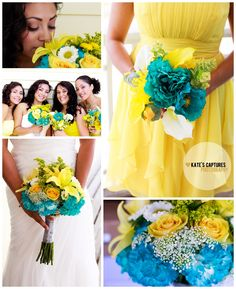 Beach Wedding Yellow & Teal Details // Kate's Captures Photography